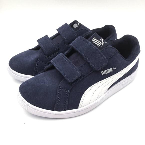 new concept 027f1 73c67 PUMA Smash Boys Blue Suede Sneaker SIZE 2C Wide